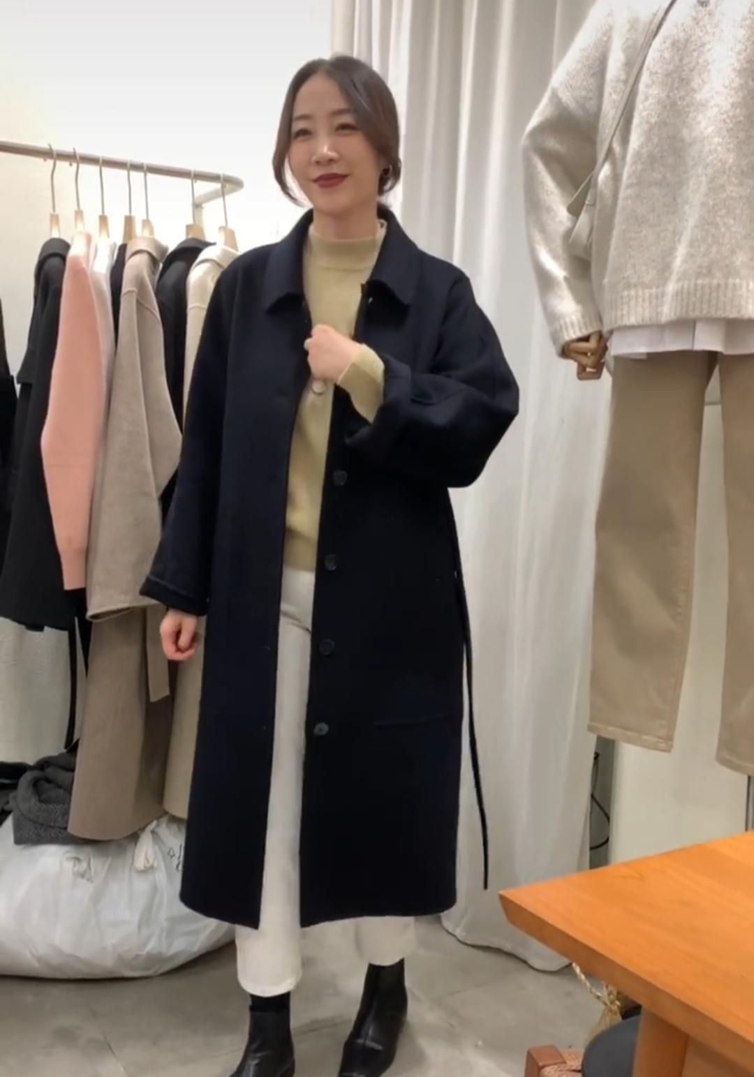 waitmore羊绒大衣双面加厚中长款 2019维多利亚新款赫本风毛呢女