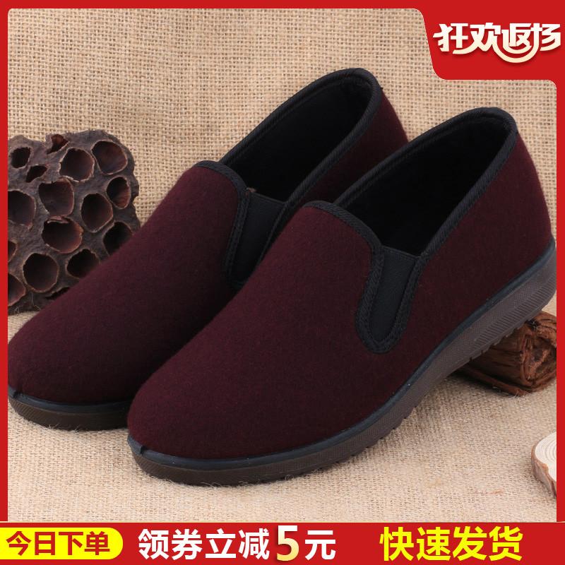 老北京布鞋女款棉鞋冬季中老年媽媽鞋防滑保暖老年加厚奶奶二棉鞋