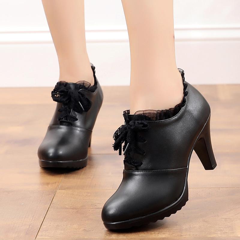 2019秋季新款高跟单鞋防水台粗跟工作鞋花边蕾丝系带深口职业女鞋