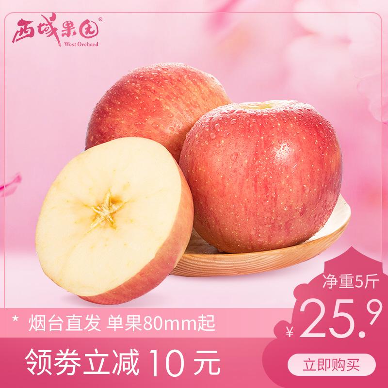 山东烟台红富士苹果大果净重5斤现摘当季新鲜水果整箱批发包邮