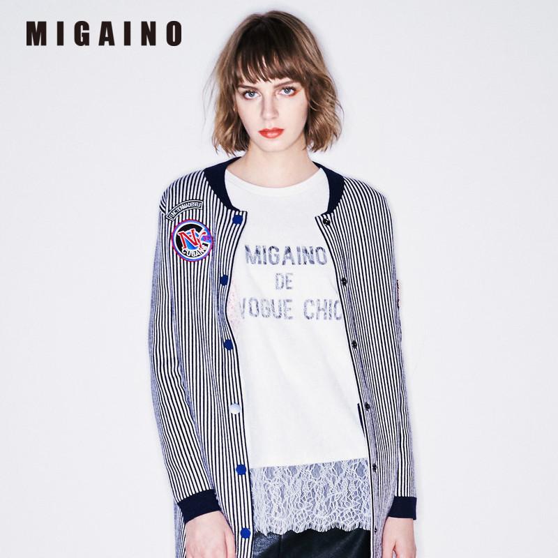 曼娅奴商场同款2017秋冬新款女装长袖细条纹棒球服外套MH44JK601