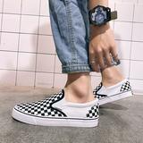 黑白格子鞋一脚蹬夏季透气男鞋低帮棋盘格懒人韩版学生百搭帆布鞋