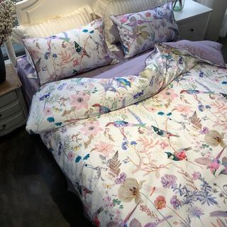美式60s长绒棉数码印花贡缎四件套 全棉床单被套1.8m纯棉床上用品