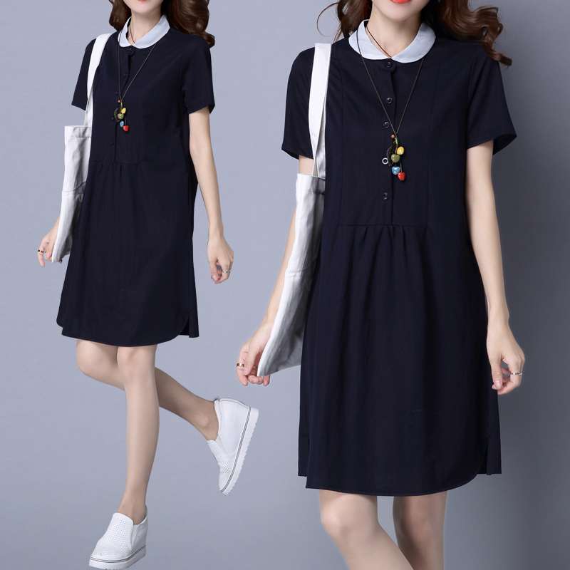 大码连衣裙女胖mm2019新款 加肥加大码女装韩版宽松短袖裙子女夏