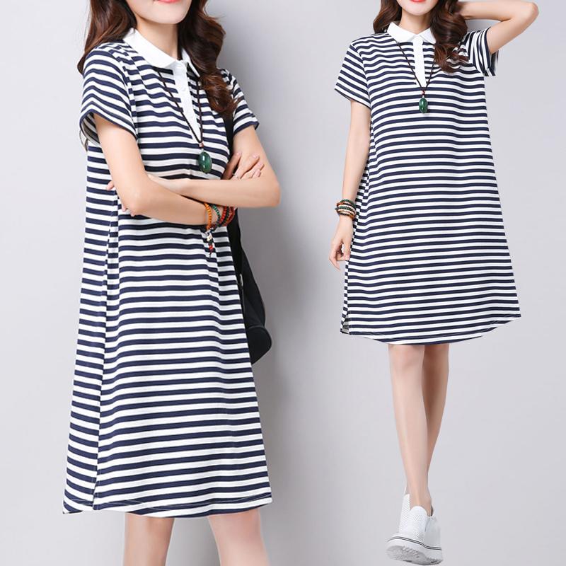 2018款连衣裙 加肥加大码女装200斤韩版宽松中长款条纹短袖裙
