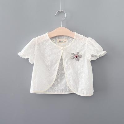 女童短袖披肩小外套夏季中大童公主裙外搭纯棉开衫女宝宝薄款披风