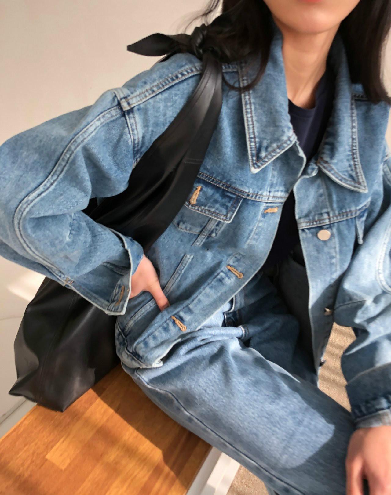 現貨韓國chic寬袖男朋友款牛仔夾克外套女