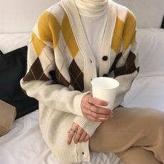 7104# 韩国Chic 菱格纹V领长袖宽松羊毛开衫毛衣针织线衫