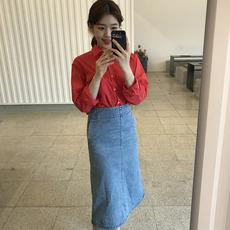 6930# 韩国 鬼马系少女 夏尾声 好看显身材牛仔半裙 现货