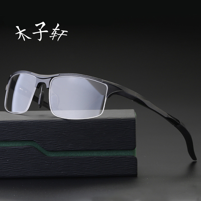 Mens riding spectacle frame sports flat lens can be equipped with finished myopia glasses half frame windproof eye protection glasses frame