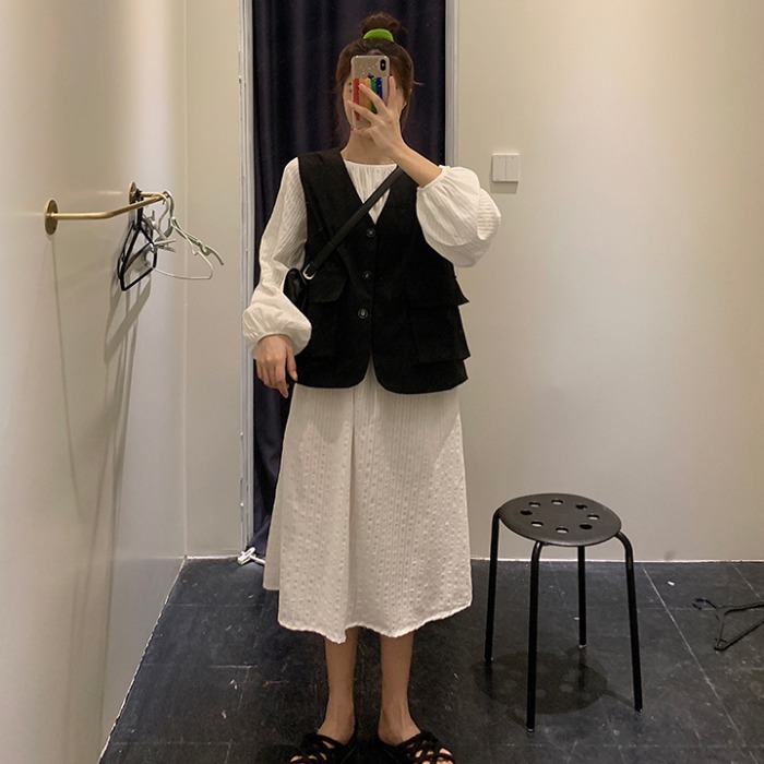 满50.00元可用7.12元优惠券秋季新款女装韩版学院风时尚工装马甲背心+条纹连衣裙两件套女潮