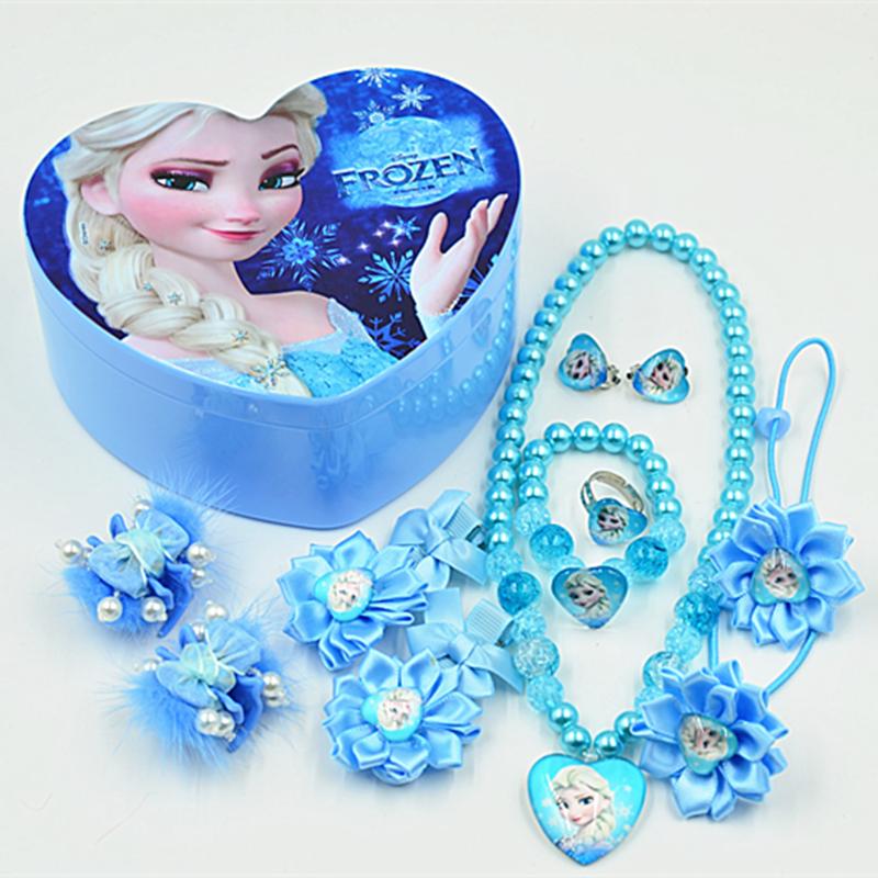 Ребенок подарочный набор лед романтика принцесса аксессуары для волос средства для волос клип ожерелье браслет творческий в коробку бесплатная доставка