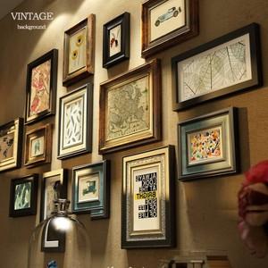 实木美式装饰客厅餐厅鹿头相框墙