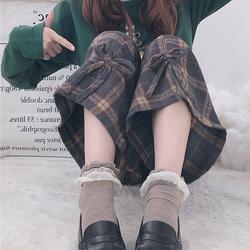 颂姬女秋冬小个子新款高腰显瘦毛呢格子复古宽松休闲直筒阔腿裤子