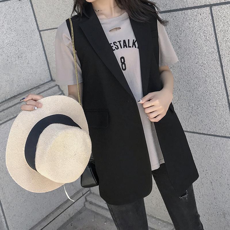 西服马甲女外套韩版中长小个子无袖坎肩大码春秋马夹网红背心外穿