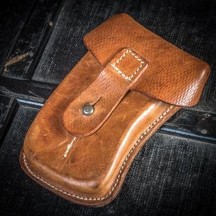捷克军版 VZ61植鞣革腰包头层牛皮杂物包手工缝制vintage军事收藏