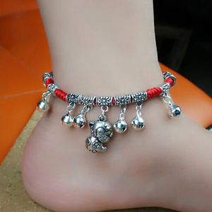 新款12生肖脚链 红绳铃铛脚链 个性手工学生脚链 本命年平安饰品