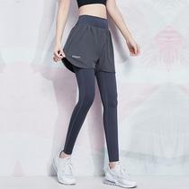 瑜伽健身裤女高腰提臀弹力紧身收腹跑步外穿速干假两件运动裤春夏