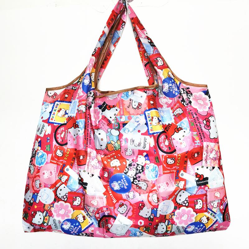 Cartoon folding environmental protection KT cat portable travel bag super large waterproof encrypted storage shopping bag
