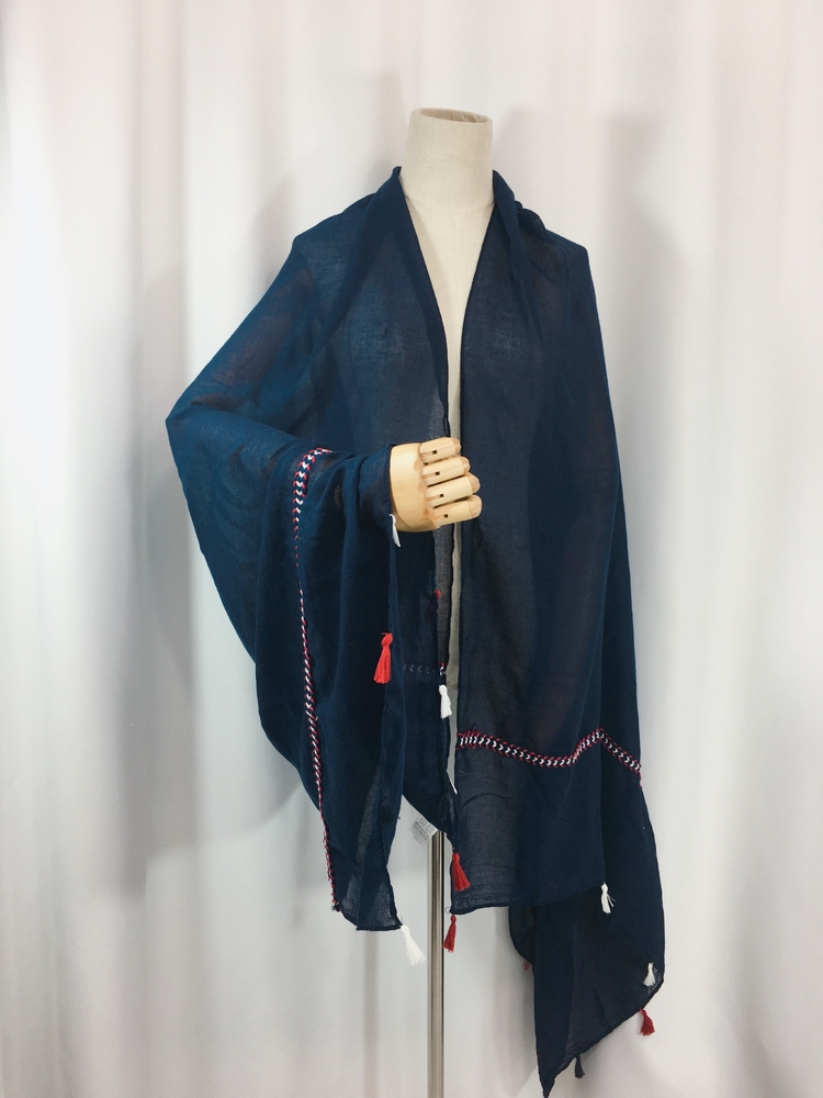 外贸原单棉麻围巾大长披肩亲肤纯色度假海滩民族编织流苏披肩女