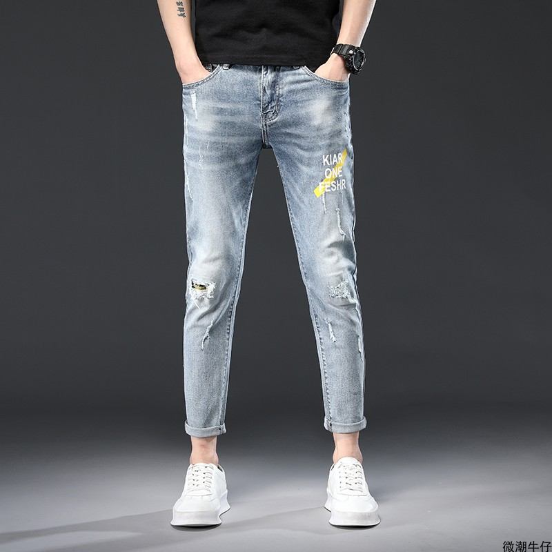 Autumn fashion Capris light color perforated jeans slim feet printed casual pants Japanese elastic pants for men