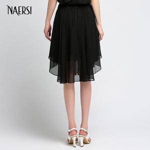 NAERSI/娜尔思秋秋新款黑色A摆双层蕾丝半身裙半裙短裙百褶裙