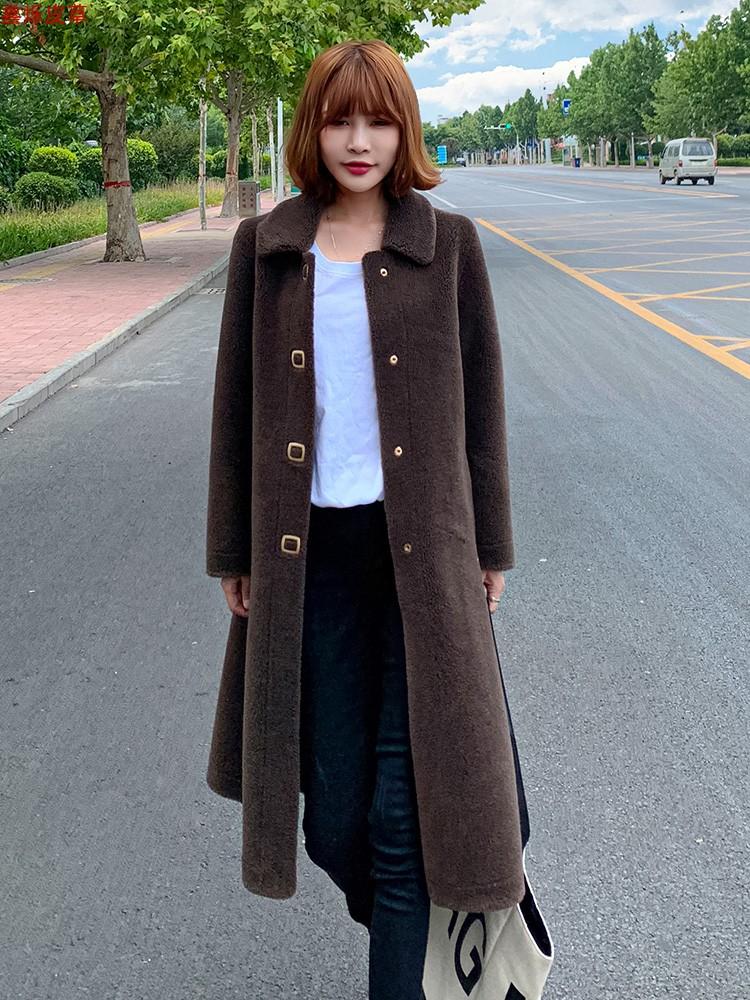羊毛皮毛一体中长款皮草外套2021新款羊剪绒大衣女冬韩版颗粒大版