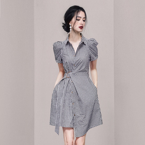 YF62497# 韩版夏装新款POLO领复古格子衬衣裙连衣裙女A字短裙 服装批发女装直播货源