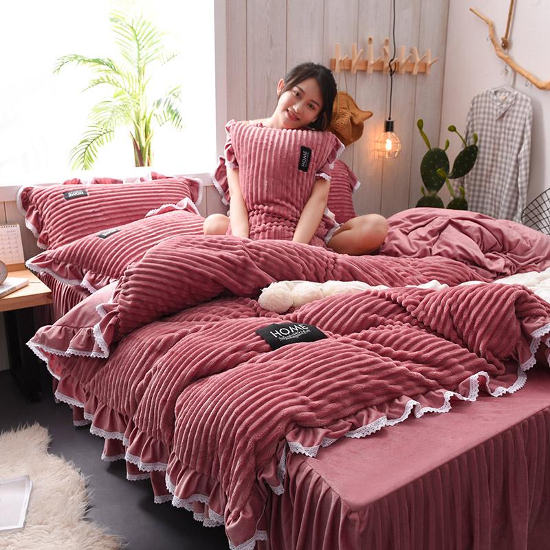 珊瑚绒四件套加厚冬季保暖双面法莱绒床品法兰绒被套水晶绒床裙