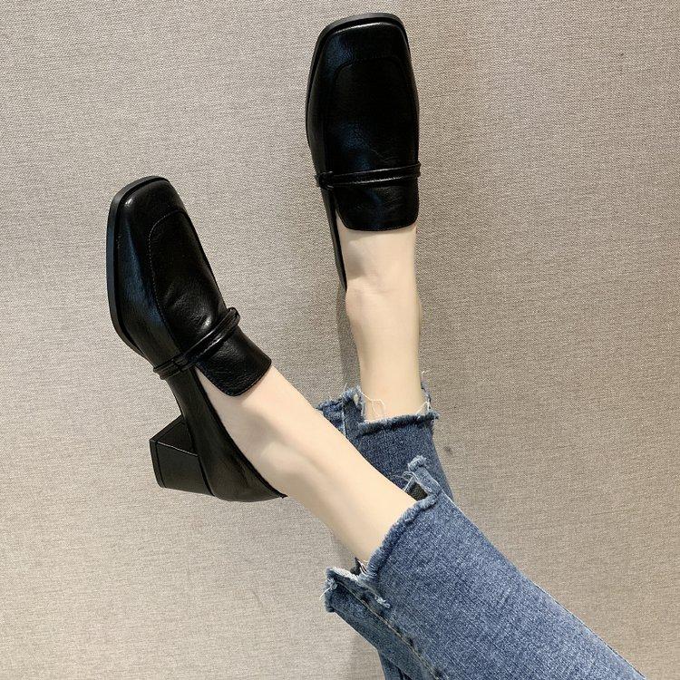 小皮鞋乐福鞋英伦风高跟鞋粗跟单鞋子女2019潮鞋新款春季春款百搭