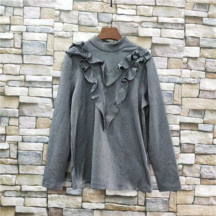 外贸春季新款立领套头衬衣V型木耳边长袖衬衫女装上衣打底9-Q-7-1