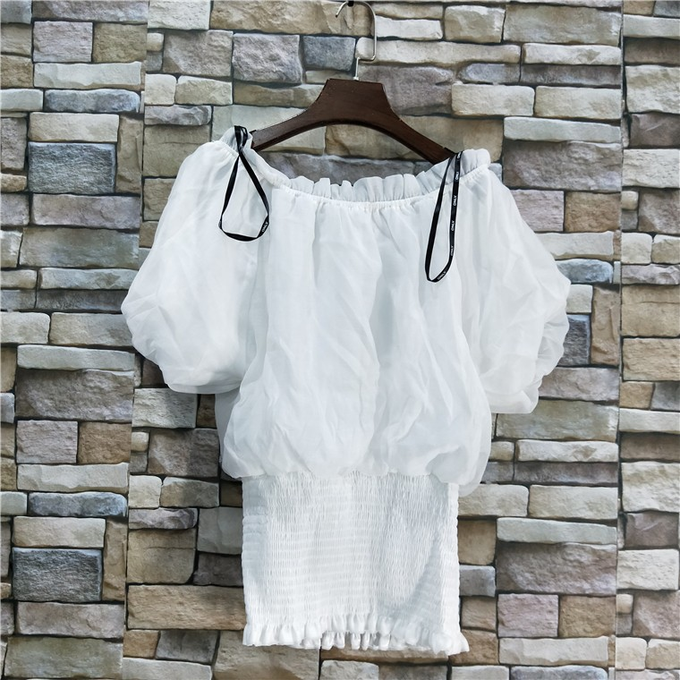 2018夏季外贸新款女装纯色松紧下摆一字领短袖淑女衬衫-仓二-1-1