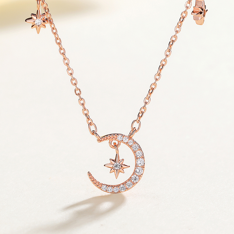 S925 Sterling Silver Korean temperament Necklace female geometric design Moon Star clavicle Chain Silver Necklace Gift