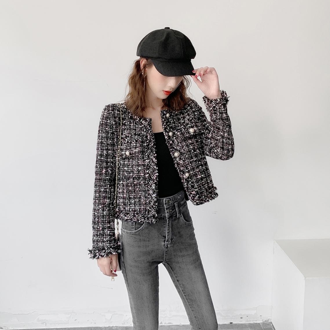 2019春秋装新款小香风外套粗花呢格子黑色小西装女短款上衣短外套需要用券