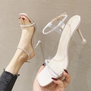 高跟凉鞋女网红2020夏季新款水钻透明细跟性感水晶鞋一字扣带凉鞋图片