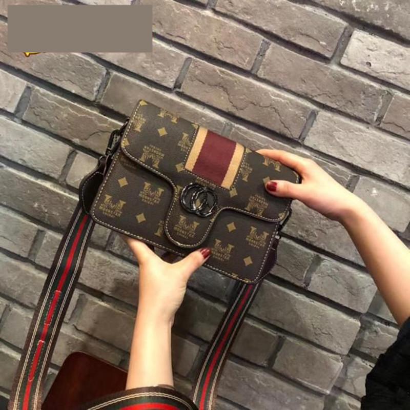 Autumn new products versatile printing small square bag wide shoulder belt trend Single Shoulder Messenger Bag small mobile phone bag leisure female bag