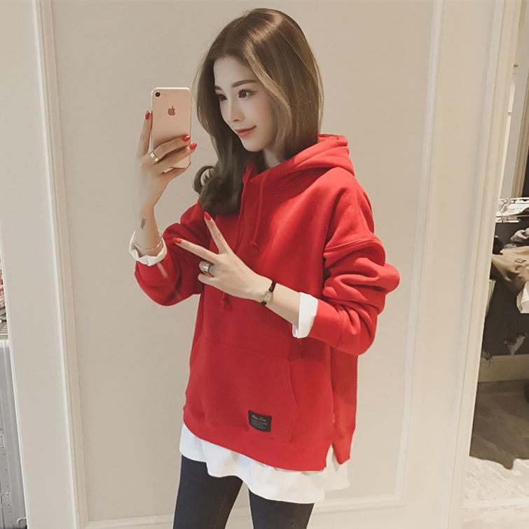 Беременная женщина пружинный установлены пальто 2018 моды корейский случайный закрытый беременная женщина свитер грудь беременность весна два рукава