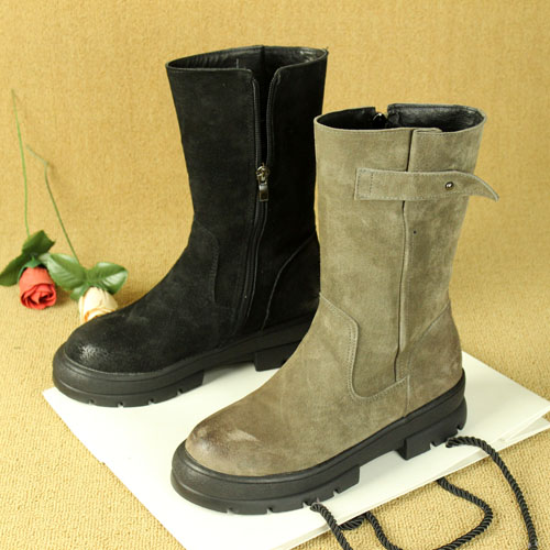 Vintage Leather Mid boot side zipper womens boots European and American style belt buckle suede army boots Knight boots