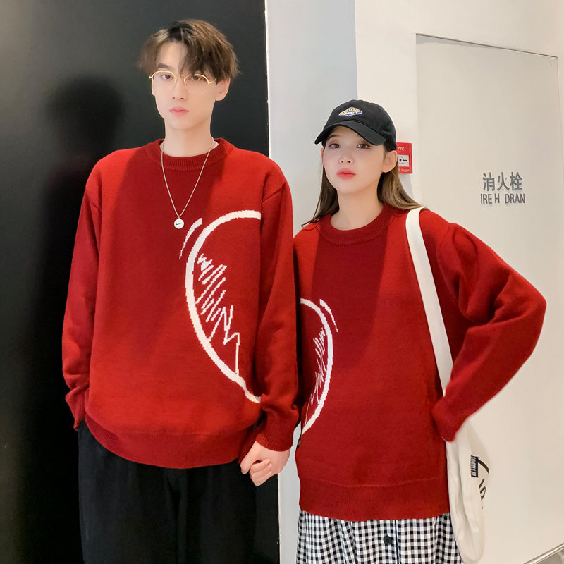 French New Year couple clothes autumn and winter New Year's Eve red sweater male ins super fire natal year after marriage new year clothes