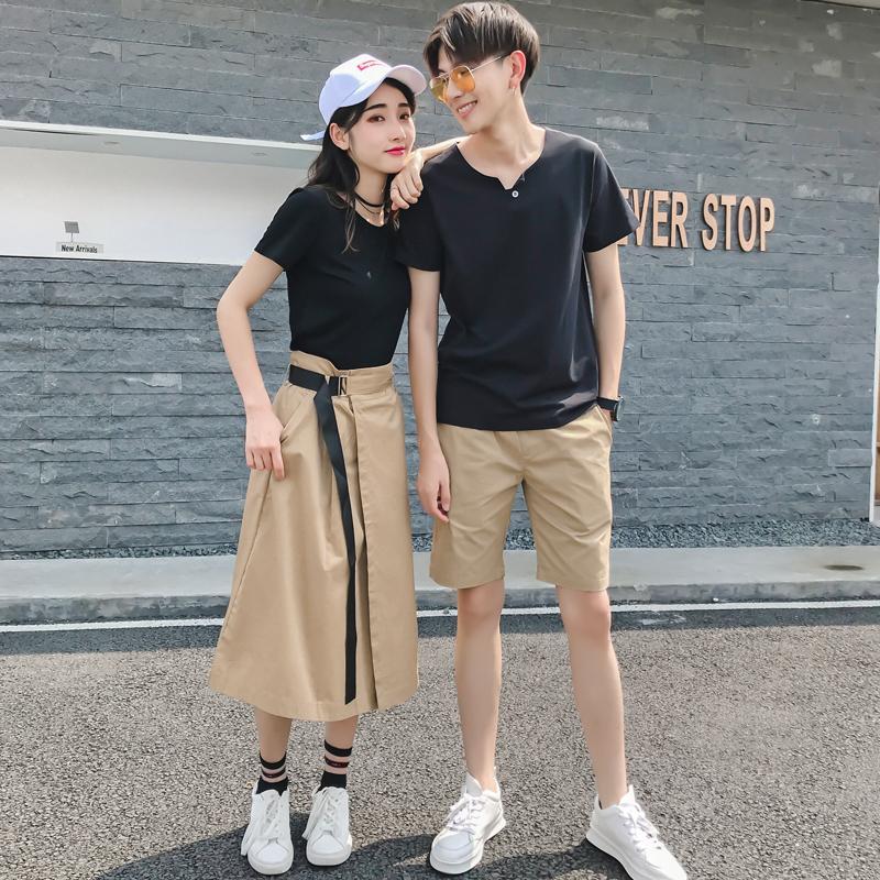 情侣装夏装2018新款套装短袖T恤男女连衣裙子气质韩版潮夏季百搭