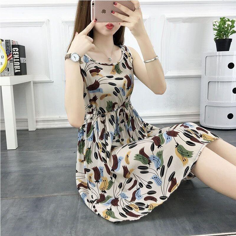 12月01日最新优惠棉绸连衣裙夏季2019新款人造棉裙子