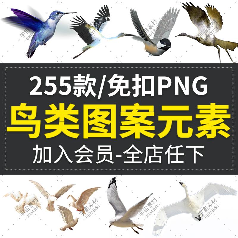飞翔鸟类群剪影仙鹤等装饰免抠png透明背景图案 美化ps图片素材