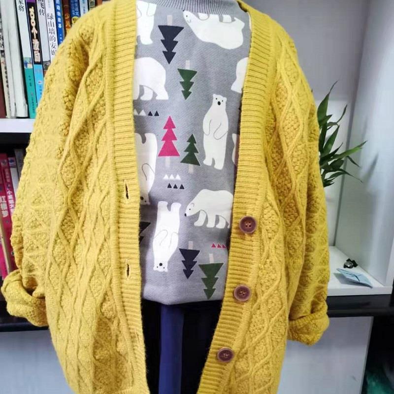 秋冬新款慵懒风韩版宽松开衫毛衣女学生纯色百搭显瘦针织衫外套