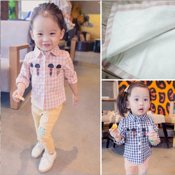 2016 утолщенные корейских девочек Рубашки детские плюс осень/зима Флисовая рубашка с новым ребенком и детей рубашки в конце 1-2-3 лет