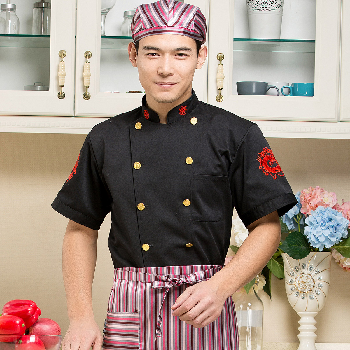 Black and white double embroidered dragon hotel chefs clothing mens and womens working clothes chefs clothing short sleeve fast food restaurant uniform canteen