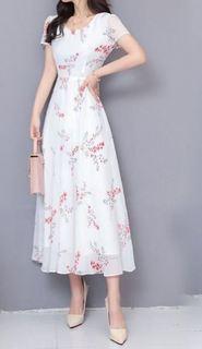 碎花连衣裙秋季2020新款气质优雅修身大码女遮肚子显瘦中长裙