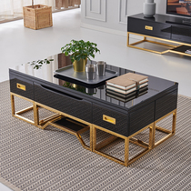 Multifunctional lifting coffee Table dual-use TV cabinet combination set of light luxury wind manual folding household small family type