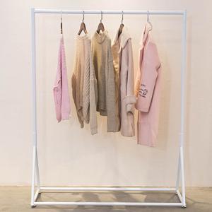 女装店服装店衣架展示架落地式 简约童装店货架壁挂衣服架子白色