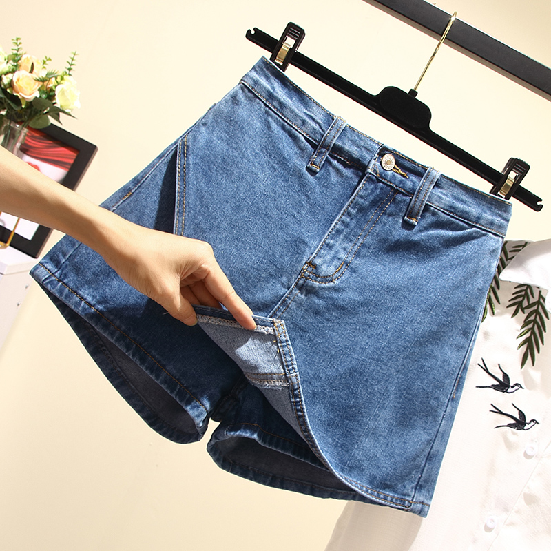 胖mm夏装2018新款加大码仙女装显瘦牛仔短裤女胖妹妹软妹200斤潮
