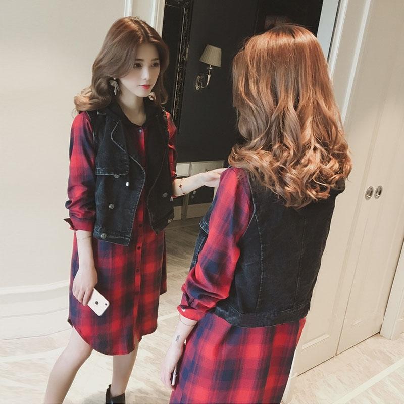 2018新款洋气套装大码女装秋装胖mm显瘦牛仔马甲衬衫连衣裙两件套